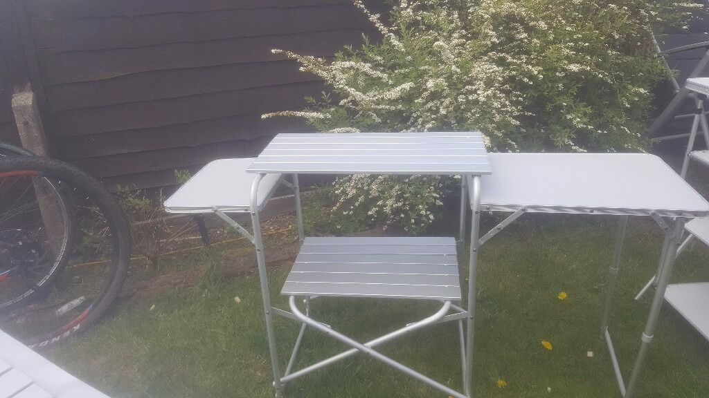 Camping kitchen, storage shelves, large folding table and 2 small folding tablesin Longbridge, West MidlandsGumtree - A variety of camping tables and storage, 2 small tables , 1 large table suitable for a dining table seat up to 6,kitchen that hilds camping cooker with shelving and a storage shelving stand all collapsible with storage bags