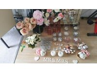Wedding/Party Decoration Bundle with Flowers and Vases etc (Peach, ivory, pink, white)
