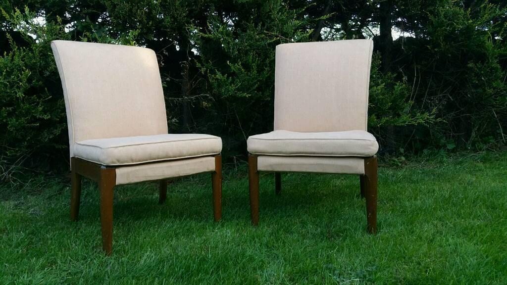 2 Vintage Beige Parker Knoll Bedroom Chairs Model Pk No