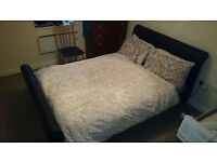 Double bed frame faux leather with memory foam mattress £70