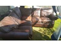 Free corner leather sofa very comfortable with pouffe
