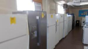 Fridges complete with 90 day warranty. Large selection on hand. $399. and up.