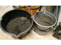 2x buckets of black fine aquarium fish tank sand media