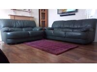 Dark Olive Green Colour Leather Sofa 3 & 2 Seater for Sale