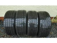 Khumo & Toyo 225/40/18 Tyres with 8x18 wheels (1 cracked rim)