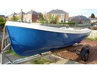 open fishing boat 15ft on trailer