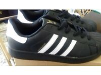 Black & White Adidas Trainers Size 8