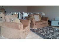 Two seater and single seater sofa mid tan covers with cream option.