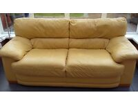 3 seater leather settee in yellow