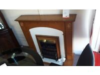 Wooden Brown and White Electric Fire and Surround