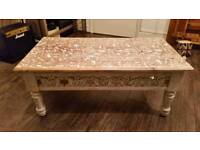 Stunning solid wood carved coffee table