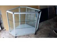 Glass Display Corner Counter Unit and Grey Shelf Unit