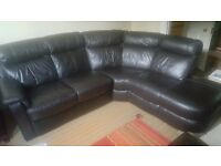 Stunning Real Leather Corner Sofa (1 Year Old) and FREE Two-seater Leather Sofa