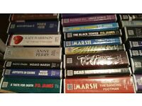 OVER 100 LARGE FORMAT CASSETTE AUDIO BOOKS. CRIME, THRILLERS, AUDIOBOOKS, VGC