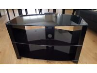 """Corner TV Stand - Black Glass - Suits LED/LCD TV up to 43"""" - Excellent Condition"""