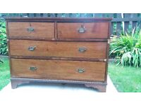 ANTIQUE pine chest of drawers. Good condition for is age