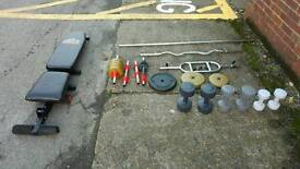 Weights, dumbells and bench set