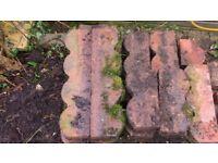 Red Concrete Garden Lawn Edging Slabs