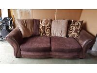 Brown Leather & cord fabric 3 seat sofa bed