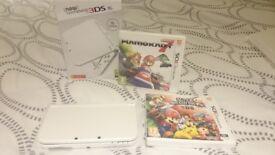 New Nintendo 3DS XL Pearl White + Mario Kart 7 + Super Smash Bros