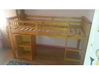 Children's Mid-Sleeper For Sale - Made of good Quality Pine and Comes with Retractable Desk