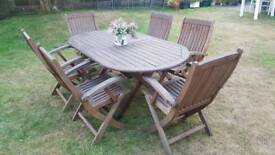 Solid Wood Garden Table and Six Chairs