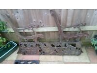wrought iron bench ends and inlay