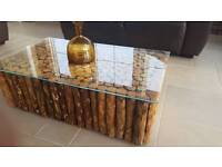 """HAND MADE COFFEE TABLE - Locally sourced wood, hand crafted with glass top. 38"""" x 28"""""""