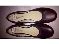 Ladies Flat Black Pumps, Size 5 (new with tags)