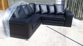 Corner Sofa black leather Brand New unused still in original packaging, opened for pic can deliver.