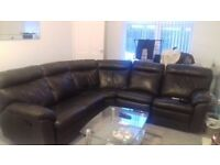 Leather reclining corner sofa, good condition