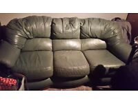 3 seater green italian leather settee.This item is free for collection this week.