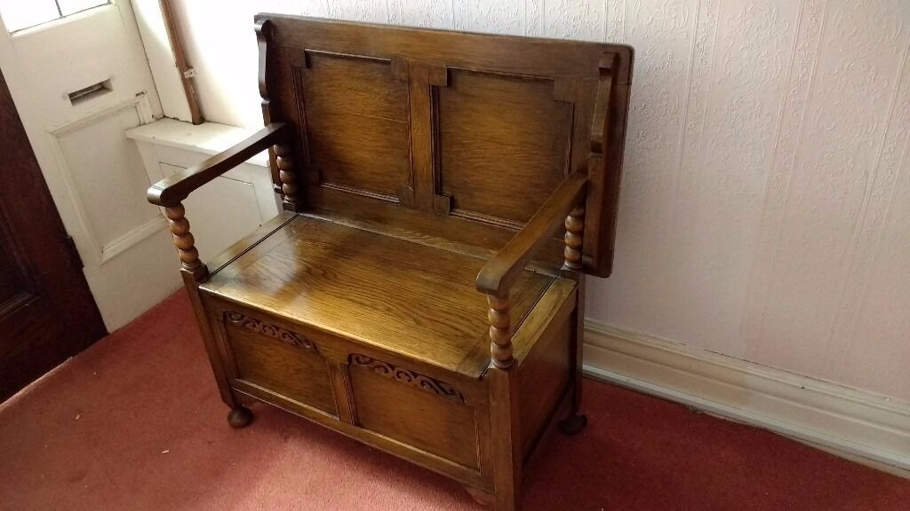 Antique Victorian Oak Monks Bench Seat Converts To