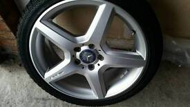 """Genuine Mercedes C A Class Amg 18"""" Alloy Wheels And Continental Tyres"""