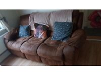 3 seater sofa and 2 chairs all recliner
