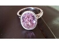4 CARATS PINK SAPPHIRE, WHITE TOPAZ, GENUINE 925 SOLID STERLING SILVER RING