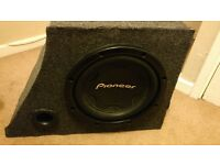 Pioneer car subwoofer with custom cabinet for BMW e46 Compact