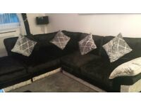 Black silver crush velvet corner sofa SALE OR SWAP
