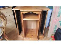 Pine Television Cabinet with CD storage rack