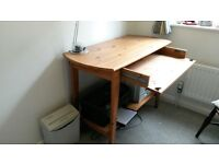 IKEA pine computer table/desk with keyboard/storage drawer