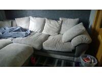 Light Grey Corner Sofa & Puffet