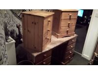 solid pine 8 drawer dressing table and 2 x 3 drawer bedside chests