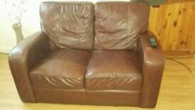 2x 2 seater REAL LEATHER sofas BARGAIN