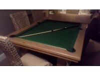 Solid oak dinning/ pool table