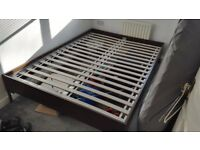Bed frame and slatted bed base, very good condition