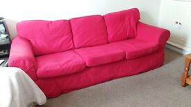 3 seater red sofa £50 and free chair