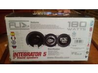 "2 nearly new 180 watt 5"" triaxial car speakers"