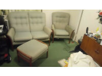 parker knowl 2 seater sofa, armchair and footstool