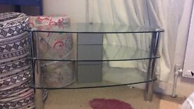 3 tier glass and Crome tv stand