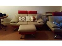 Red & Cream Leather Sofa With Two Matching Armchairs